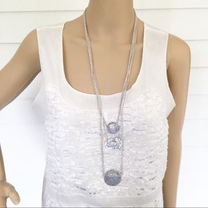 NWT chaps multi layered silver necklace
